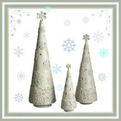 3 White Cone Christmas Tree Table Top Decor
