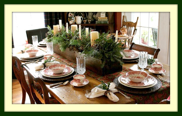 New England Style Tablescape Using Johnson Brothers Old British Castle Red Transferware