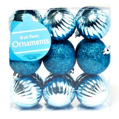 Aqua Blue Shiny Glitter Plastic Christmas Tree Ball Ornaments