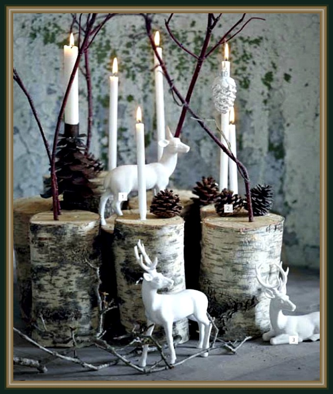 White Deer, Pine Cone, Birch Tree Candle Holder Display