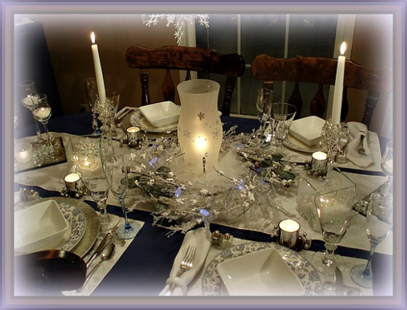 Snowflake Winter Theme Blue and White Christmas Tablescape