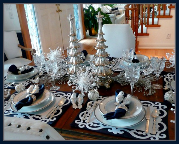 French Flair Blue White Crystal and PlatinumChristmas Tablescape Idea Image