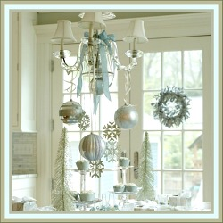 Snowflakes Ornaments Hanging from Chandelier