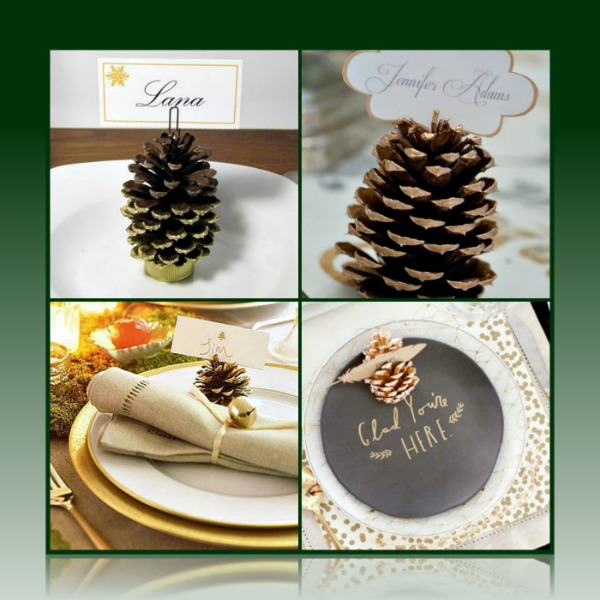 gilded-christmas-pine-cone-placecard-holder-collage