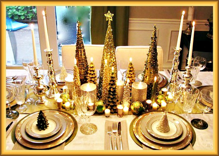 Gold Christmas Trees Tablescape Center Piece Idea