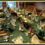 Gold and Green Tablescape Idea