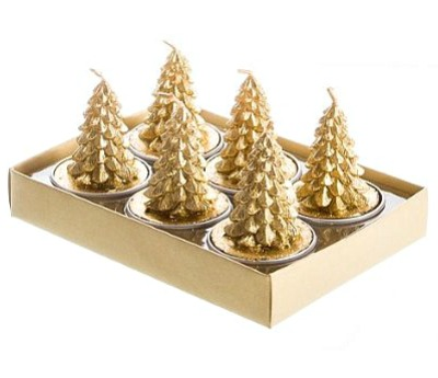 Gold Pinecone Tree Set Of 6 Tea Light Candles by Jay Imports