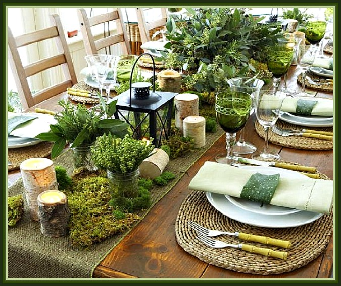 rustic greenery christmas tablescape and place setting - Green Christmas Table Decorations