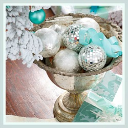 Silver Pedestal Center Piece Bowl with Silver and Aqua Ornaments