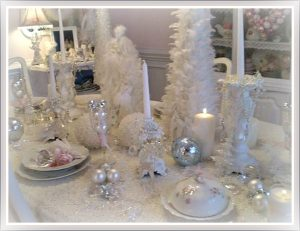 White Shabby Chic Tablescape with White Feather Trees and Lace Tablecloth Image