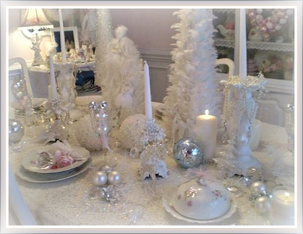 White And Silver Christmas Tablescape Christmas
