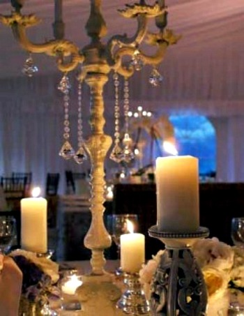 white Candelabra Tablescape