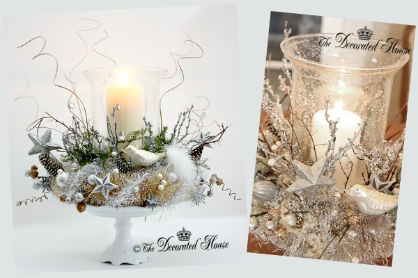 White Christmas Candles with Mercury Glass Ornaments Image