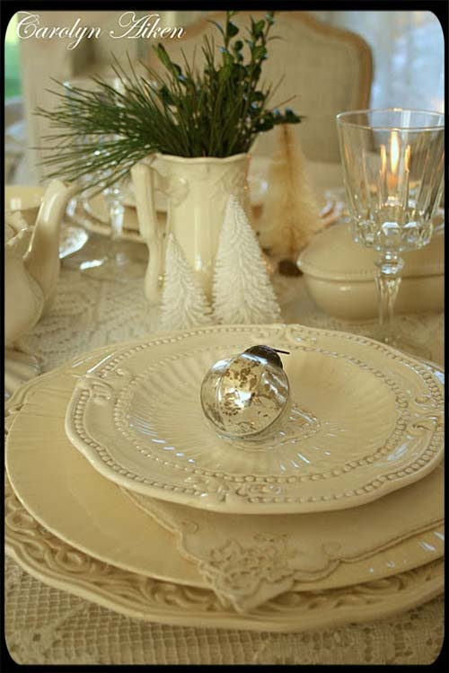 Vintage White Christmas Dinnerware Place Setting with Mercury Glass Ornament