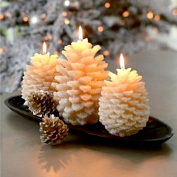 White Pine Cone Candles