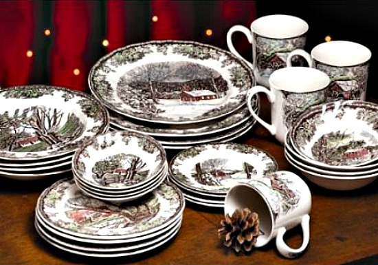 Christmas Tablescape Décor - Friendly Village 28-Piece Starter Set - Service for 4 by Johnson Brothers