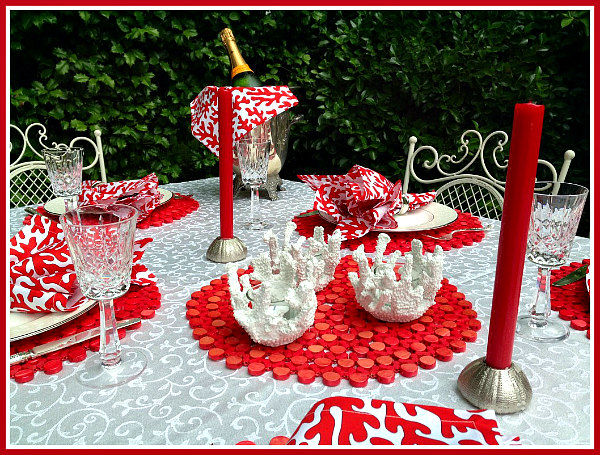 White Coral Tea Light Tablescape Idea