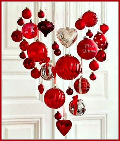 Red Christmas Chandelier Made of Chrstmas Ornaments and Ribbon Streamers