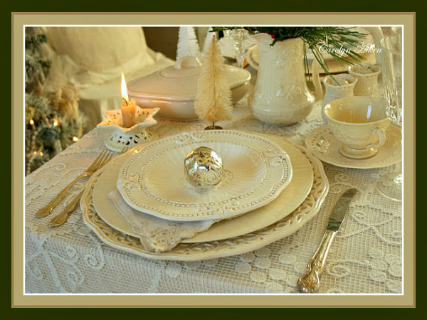 Christmas Tablescape Décor - Layered Romantic Lunch Table Setting by Carolyn from Aiken House & Gardens at Warren Grove Blog