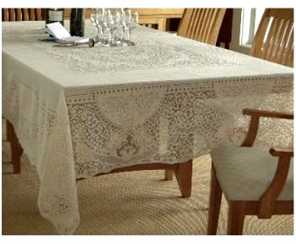 Christmas Tablescape Décor - White Canterbury lace classic rectangle tablecloth by Heritage Lace