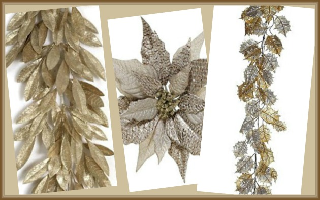 Artificial Champagne Garland and Faux Champagne Poinsettia Image