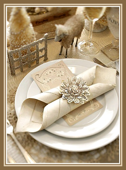 Champagne Christmas Table Setting with White China