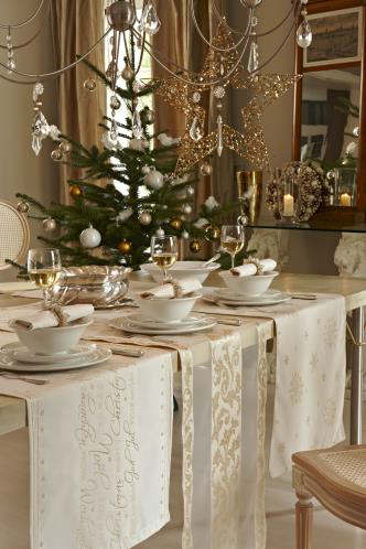 Three Table Runners on a Champagne Christmas Tablescape