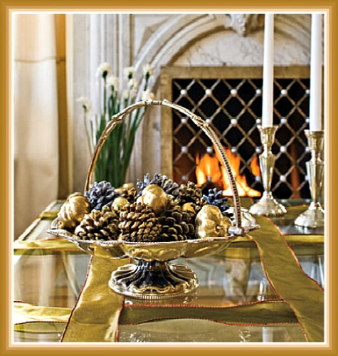 A Champagne Gold Silver and Pine Cone Centerpiece