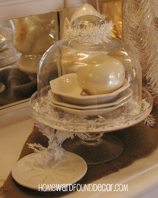 Fill Cheese Domes & Cake Stands with Seashells and Ornaments