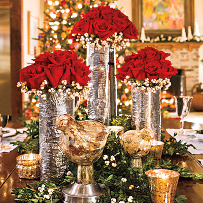 Silver Vases with Roses Centerpiece wiith Champagne Mercury Glass Christmas Table Decorations