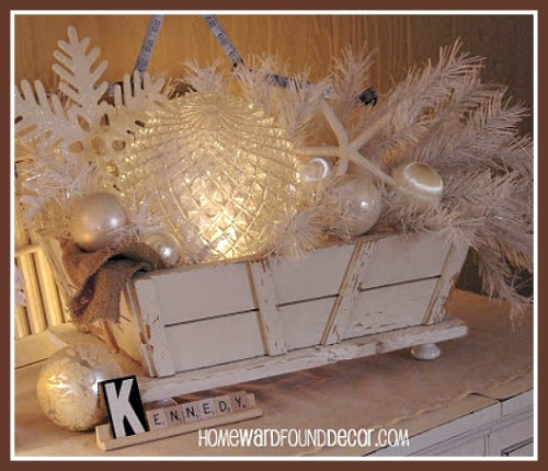 White Christmas Coastal Centerpiece Display