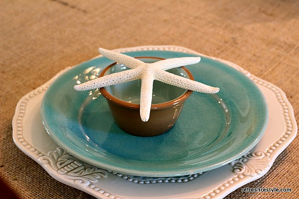 Layered White and Aqua Starfish Table Setting