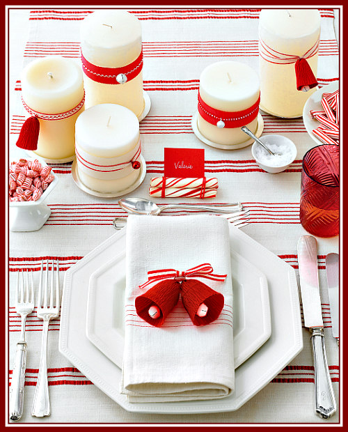 A Simple Red & White Table Setting Idea