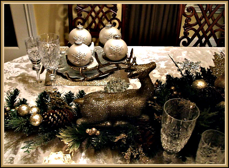 Glittery Evergreen and Silver Christmas Tablescape