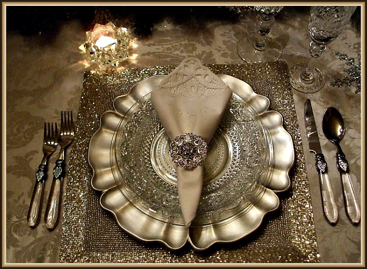 Elegant Silver Christmas Tablescape Place Setting