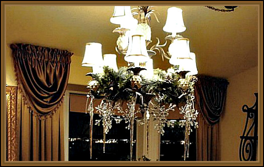 Handmade Hanging Glass Snowflakes and Icicles from the Chandelier