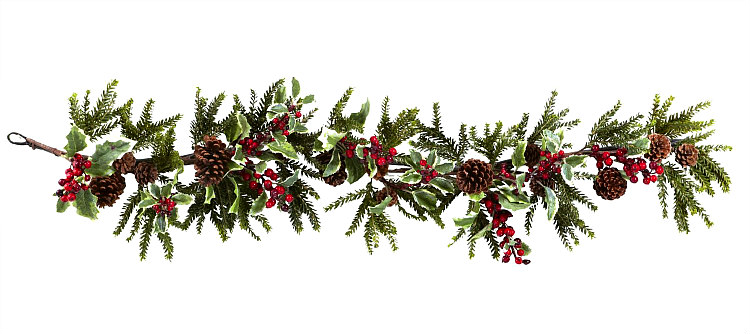 54-Inch Red Berry and Green Holly Garland with Pinecones 4942 by Nearly Natural