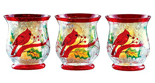 Christmas Tablescape Decor - Crackled Glass Cardinal Hurricane Candle Holders - Set of 3 by Pavilion