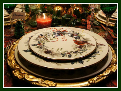 Ornate Gold Charger Placed Under Lenox Winter Greetings Fine China