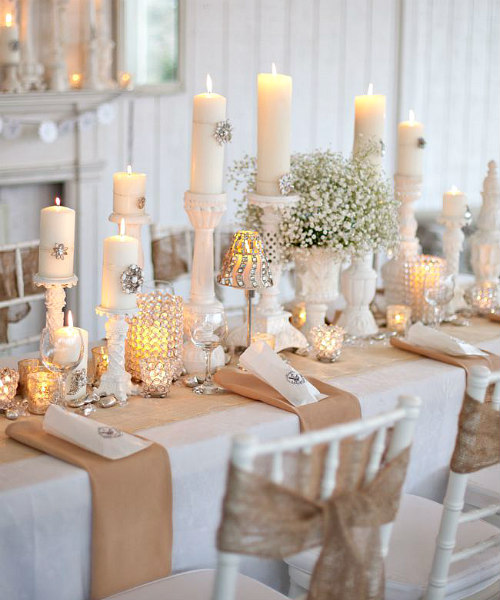 Beautiful Serene Winter Tablescape Decor in Champagne, White, and Silver