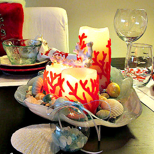 Coastal Centerpieces Using Clamshell Dish and Red Coral Candles
