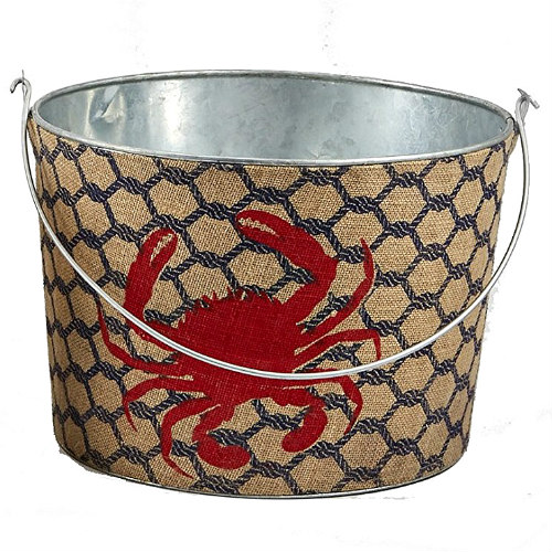Christmas Tablescape Décor - Mud Pie red crab print burlap bar party boat tin beverage tub