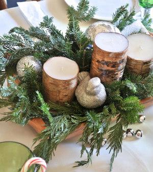 Simple Rustic Wood Dough Bowl Centerpiece
